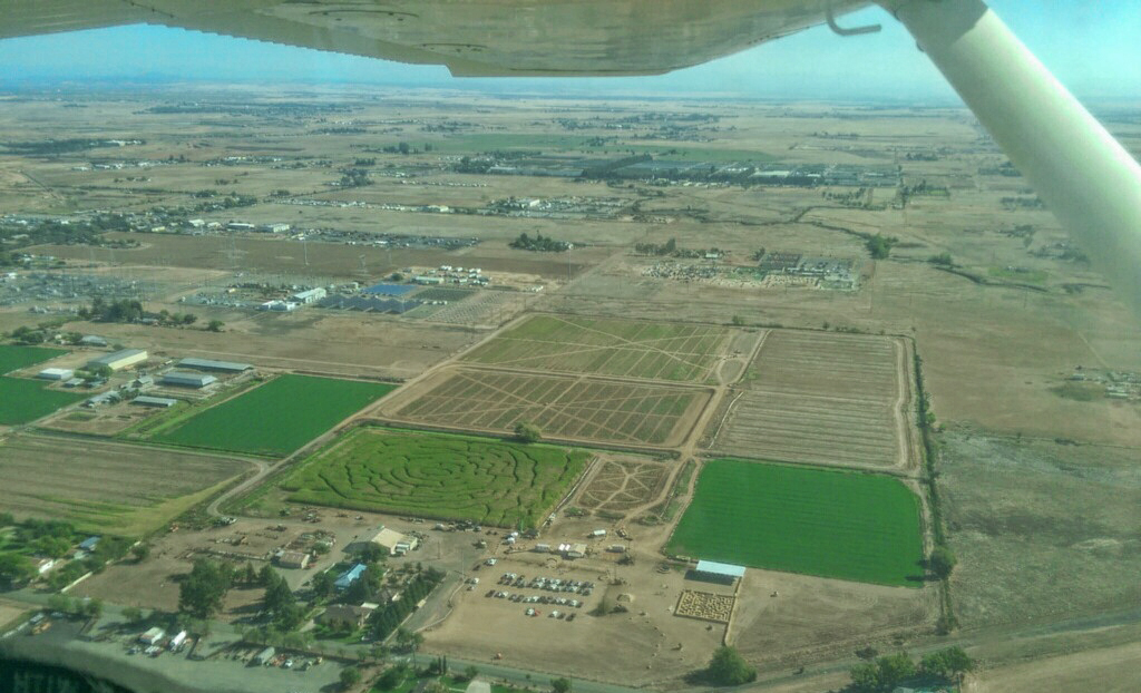 roemer pumpkin patch corn maze image from airplane